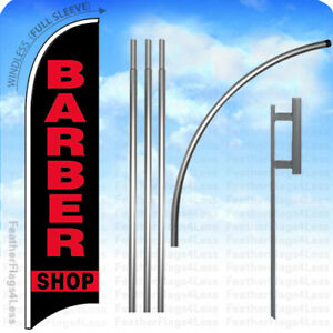 Barber Shop Windless Swooper Feather Flag Kit 15 Banner Sign Kb