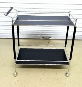 Mid Century Modern Rolling Cart With 2 Shelves Original Rollers Nice Deco Cart