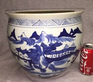 A Large Chinese Export Porcelain Fish Bowl Jardiniere