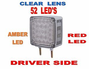 52 Led Double Face Turn Signal driver Amber red Led W clear Lens Semi truck