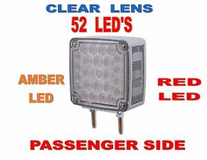 52 Led Double Face Turn Signal pass Amber red Led W clear Lens Semi truck