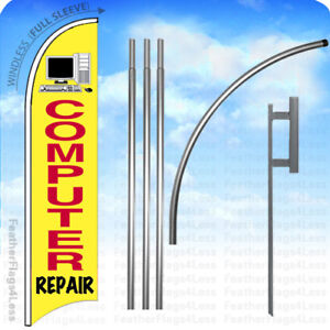 Computer Repair Windless Swooper Feather Flag 15 Kit Banner Sign Yb