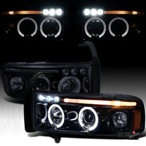 Black Smoke For 1994 2001 Dodge Ram 1500 2500 3500 Halo Projector Headlights