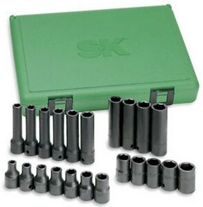 Sk Hand Tools 4052 22 Pc 6 point Standard And Deep Metric Impact Socket Set