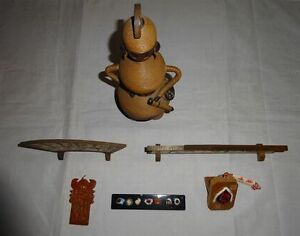 Rare Vintage Statue 6 Set Otsu E Seven Lucky Gods Tengu Traffic Safety Charm