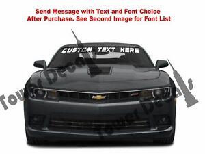 Custom Text Windshield Banner Vinyl Decal fits Chevy Camaro Lt Rs Ss 2010 2015