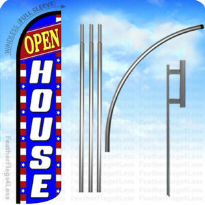 Open House Windless Swooper Flag 15 Kit Feather Banner Sign Patriotic Bz