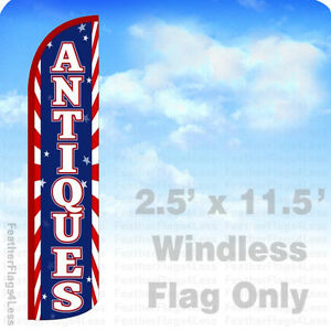 Antiques Windless Swooper Feather Flag Banner Sign 2 5x11 5 Red Stripes Bz