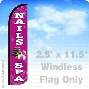 Nails Spa Windless Swooper Flag Feather Banner Sign 2 5x11 5 Pz