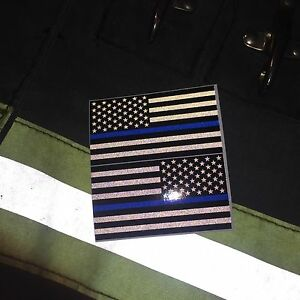 Subdued Reflective Thin Blue Line American Flags Mirrored 3 Police Fire Decal