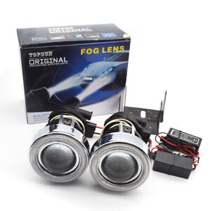 Safego 2x Ccfl Halo Universal Fog Light Projector 55w Halogen Fog Driving Lights