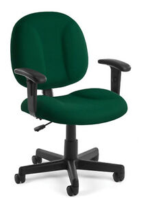 Green Armless Highly Comfortable Task Office Desk Chair With Arms