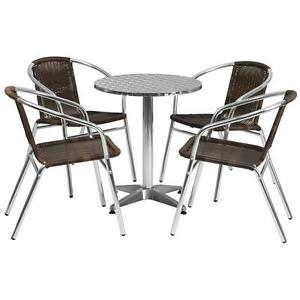 23 5 Round Aluminum Indoor outdoor Table With 4 Rattan Chairs