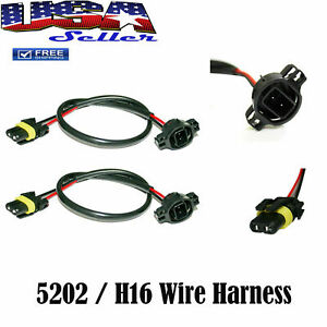 5202 H16 Wire Harness For Stock Socket Cord Cable Connector Hid Conversion Kit