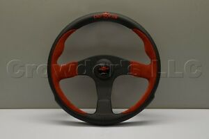 Nardi Personal Pole Position Steering Wheel 350mm Red Suede Black Leather