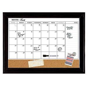 Quartet Dry Erase Calendar Board Magnetic Combination Dry Erase Cork 17 X 2