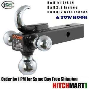 Curt Multi Ball Mount W Tow Hook For 2 Trailer Hitch Receiver 45675