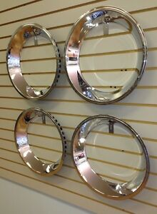 15 2 5 Stepped Edge Chrome Stainless Steel Beauty Trim Ring Set 15x7 Wheel