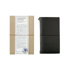 Traveler s Notebook Regular Size Black Leather Cover Midori Japan 13714006
