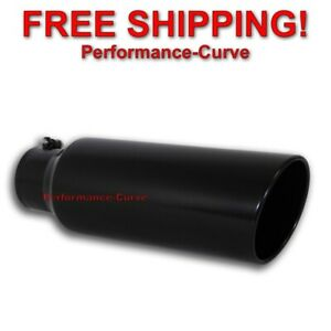 Black Diesel Stainless Steel Bolt On Exhaust Tip 4 Inlet 6 Outlet 18 Long