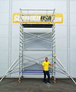 Scaffold Usa 14 Ft Double Wide Aluminum Mobile Scaffold Tower