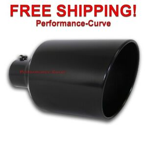 Black Diesel Stainless Steel Bolt On Exhaust Tip 4 Inlet 10 Out 18 Long