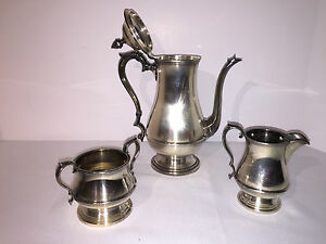 Reed Barton Coffee Set Creamer Sugar Silverplate Betsy Ross Pattern Rare