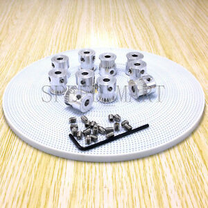 10 X Gt2 Timing Pulley 20t 8mm B 10m White Pu Belt For Reprap Prusa 3d Printer