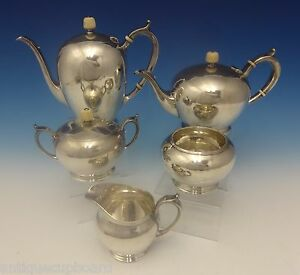 Arthur Stone Sterling Silver Tea Set Hand Wrought 5 Pc 0284