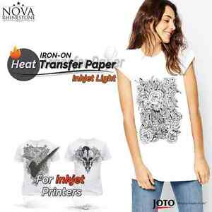 New Inkjet Iron on Heat Transfer Paper For Light Fabric 100 Sheets 8 5 X 11