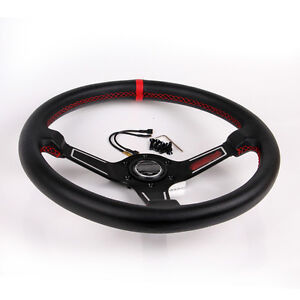 13 7 350mm Black Racing Steering Wheel With Horn Button Leather Pvc Universal
