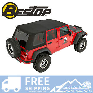 Bestop Trektop Pro Hybrid Top For 07 18 Jeep Wrangler Jku 4 Door Black
