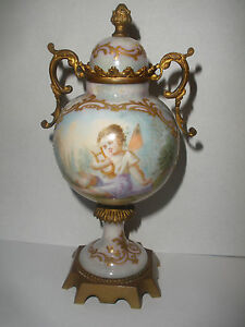 Antique France Sevres Pg Hand Painted Cherub Angel Putti Porcelain Cabinet Urn