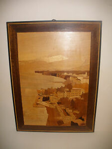 Vintage Marquetry Wooden Wood Plaque Wall Hanging Of Coastal City