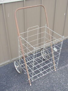 Vintage Collapsible Folding Wire Cart Basket Shopping Laundry Recycling Wheels