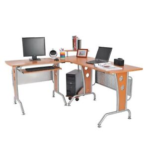 Homcom L shaped Computer Desk Office Corner Workstation Home Pc Table