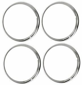 15 Chrome Stainless Steel Hot Rod Style Smooth Beauty Rings Trim Ring Set Of 4