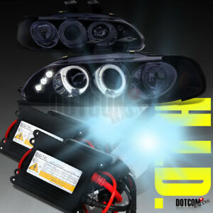 Glossy Black Fit 1992 1995 Civic Led Halo Projector Headlights H1 6000k Hid Kit