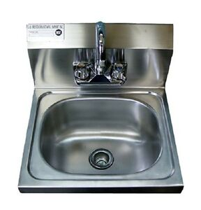 New Commercial Stainless Steel Wall Mounted Hung Hand Sink Nsf 17 X 15 X 5
