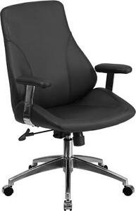 Mid back Black Leather Executive Swivel Conference Table Chair