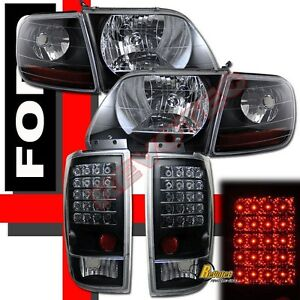 1997 2002 Ford Expedition Black Headlights Corner Signal Led Tail Lights Lamps