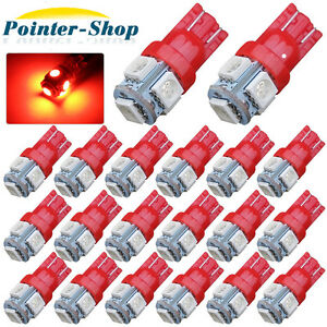 20x Red T10 Canbus Led Bulbs 5050 5 Smd Car Interior License Light 2825 192 194