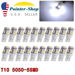 20x 7000k T10 168 W5w 5050 Smd Led Car Interior Bulb Trunk License Plate Light