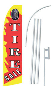 Tire Sale Flame W Tall Advertising Banner Flag Complete Sign Kit 2 5 Feet Wide