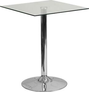 23 75 Square Glass Top Restaurant Table With 30 h Chrome Base