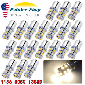 20x 4300k White 1156 13 Smd Led Interior Light Bulbs Daytime Running Rv 1141 12v
