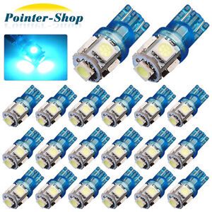 20x Ice Blue T10 194 5 Smd Led License Tag Map Dome Interior Lights Bulbs W5w