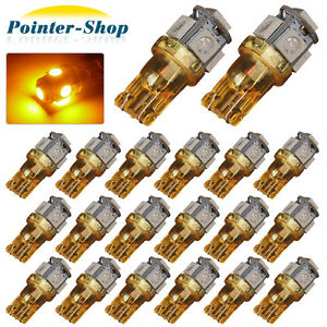 20 X Amber yellow T10 Wedge Side 5smd 5050 Led Light Bulb W5w Car Interior Light