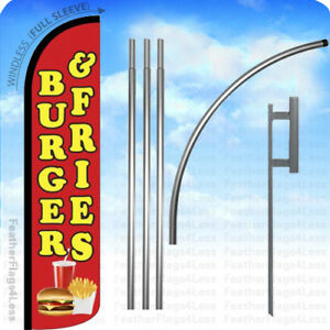 Burger Fries Windless Swooper Flag 15 Kit Feather Banner Sign Rz