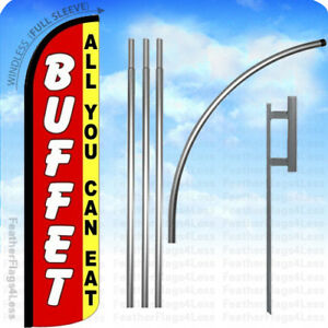 Buffet All You Can Eat Windless Swooper Flag 15 Kit Feather Banner Sign Rz